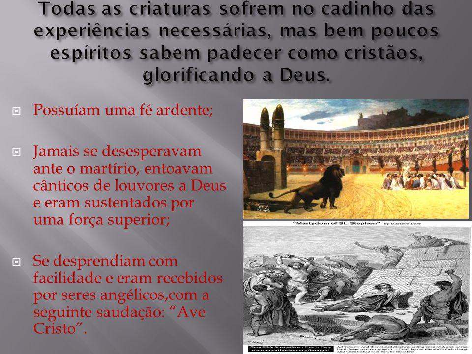  Possuíam uma fé ardente;  Jamais se desesperavam ante o martírio, entoavam cânticos de louvores a Deus e eram sustentados por uma força superior; 