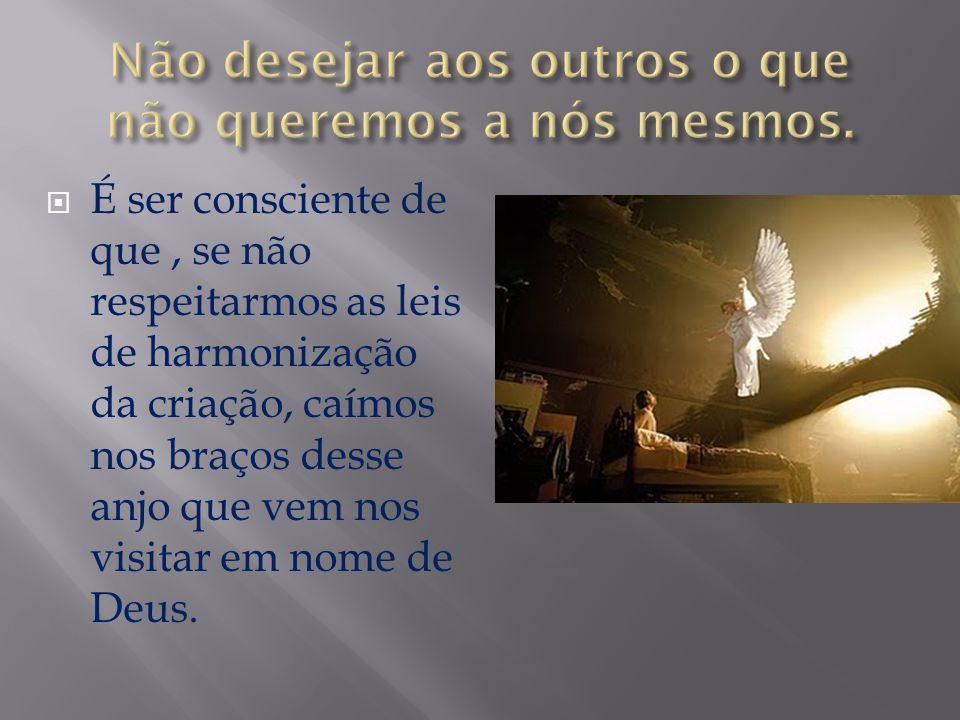  É ser consciente de que, se não respeitarmos as leis de harmonização da criação, caímos nos braços desse anjo que vem nos visitar em nome de Deus.