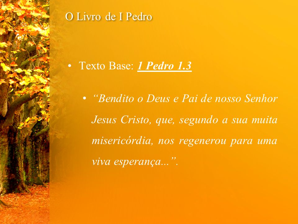 """Texto Base: 1 Pedro 1.3 """"Bendito o Deus e Pai de nosso Senhor Jesus Cristo, que, segundo a sua muita misericórdia, nos regenerou para uma viva esperan"""