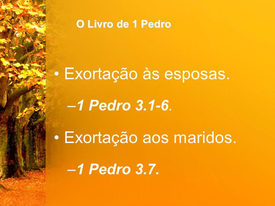 O Livro de 1 Pedro Exortação às esposas. –1 Pedro 3.1-6. Exortação aos maridos. –1 Pedro 3.7.