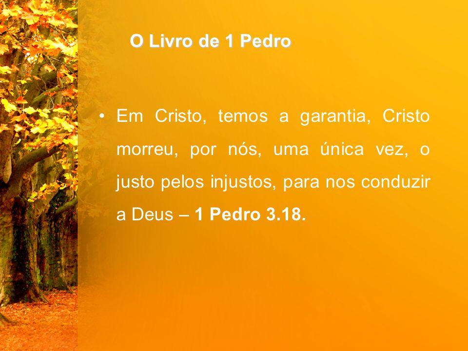 O Livro de 1 Pedro Em Cristo, temos a garantia, Cristo morreu, por nós, uma única vez, o justo pelos injustos, para nos conduzir a Deus – 1 Pedro 3.18