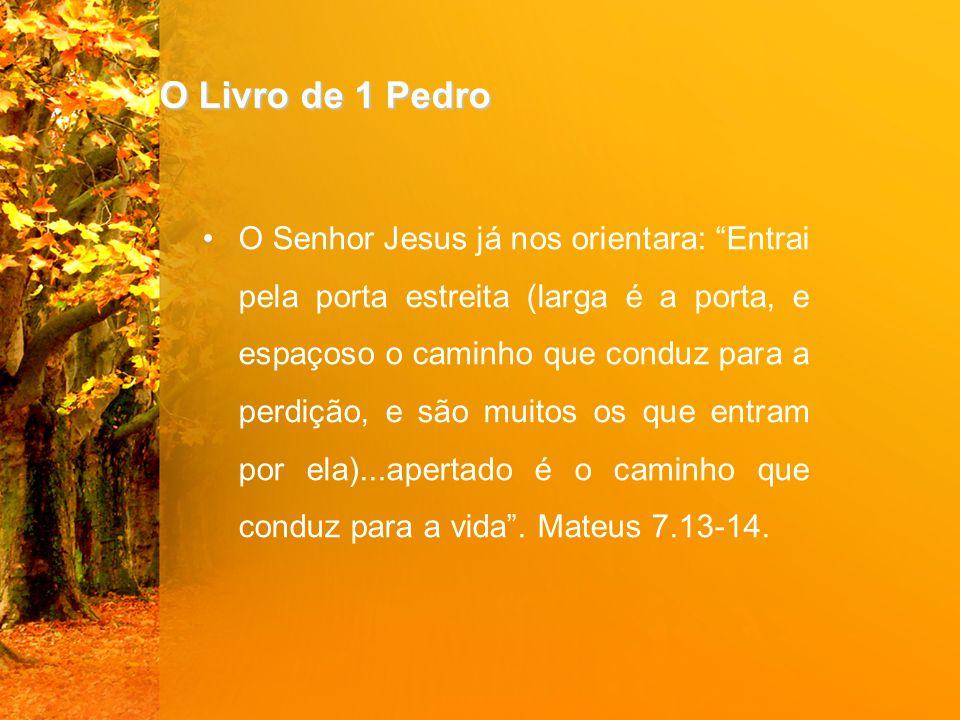 O Livro de 1 Pedro O Senhor Jesus já nos orientara: Entrai pela porta estreita (larga é a porta, e espaçoso o caminho que conduz para a perdição, e são muitos os que entram por ela)...apertado é o caminho que conduz para a vida .