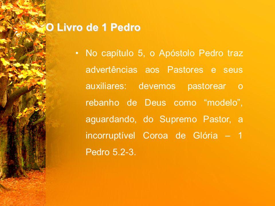 """O Livro de 1 Pedro No capítulo 5, o Apóstolo Pedro traz advertências aos Pastores e seus auxiliares: devemos pastorear o rebanho de Deus como """"modelo"""""""