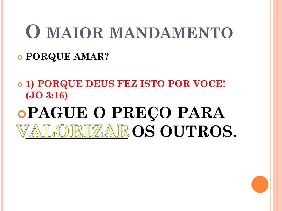 O MAIOR MANDAMENTO PORQUE AMAR.1) PORQUE DEUS FEZ ISTO POR VOCE.