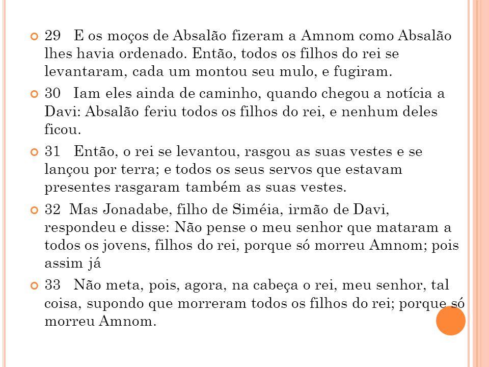 29 E os moços de Absalão fizeram a Amnom como Absalão lhes havia ordenado.
