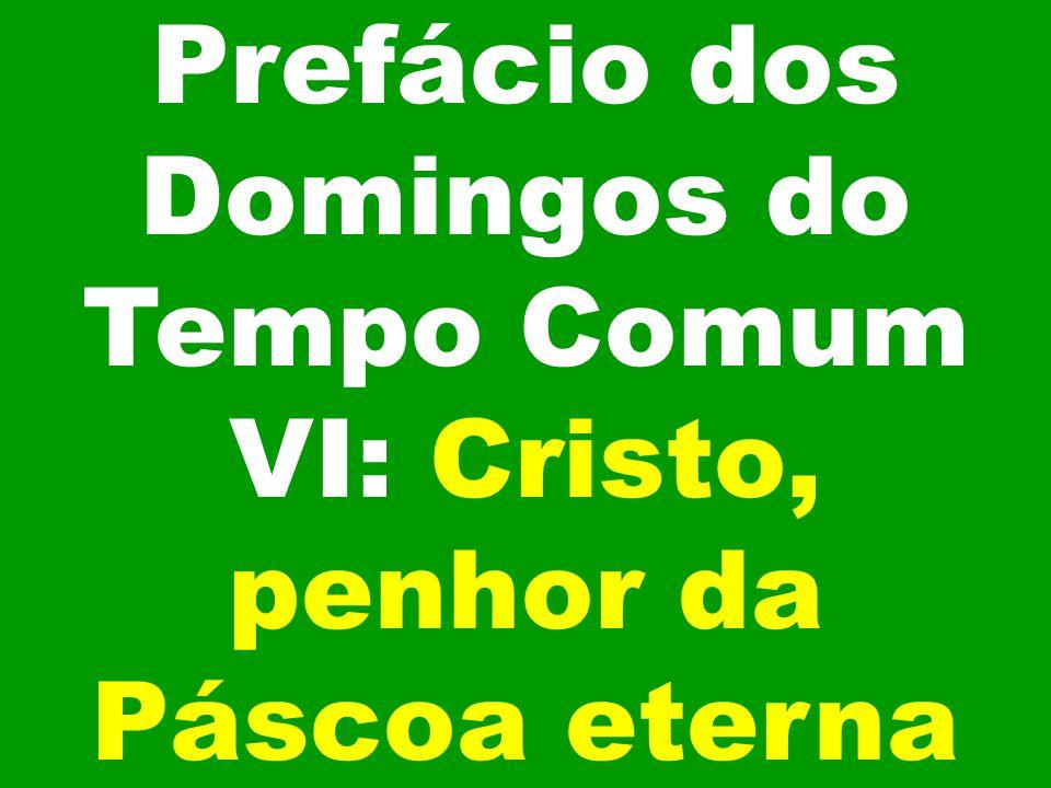 Prefácio dos Domingos do Tempo Comum VI: Cristo, penhor da Páscoa eterna