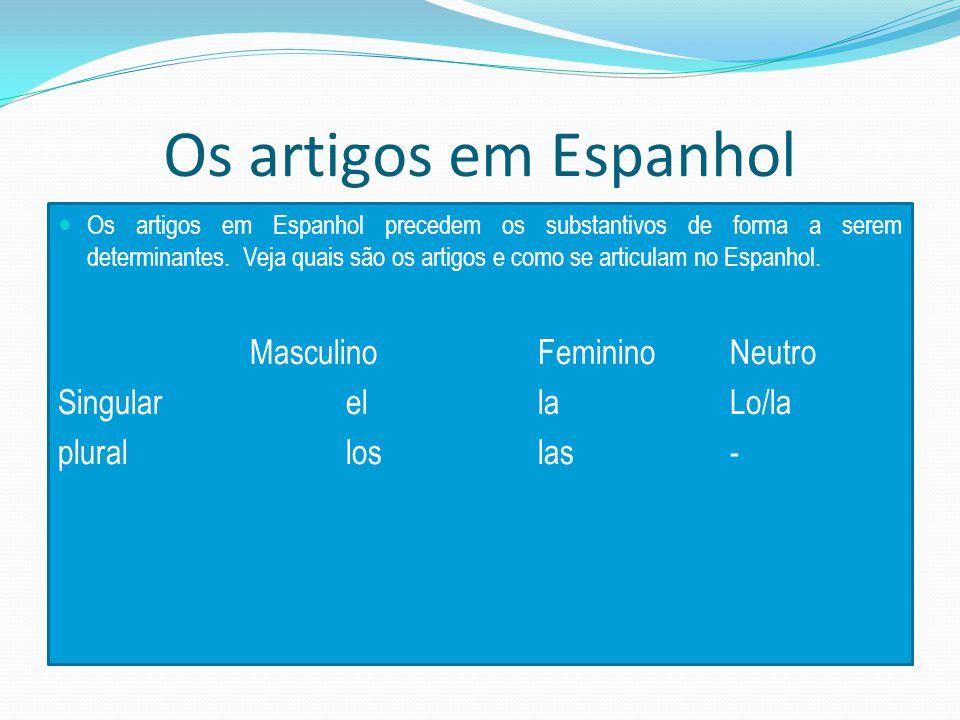 Os artigos em Espanhol Os artigos em Espanhol precedem os substantivos de forma a serem determinantes.