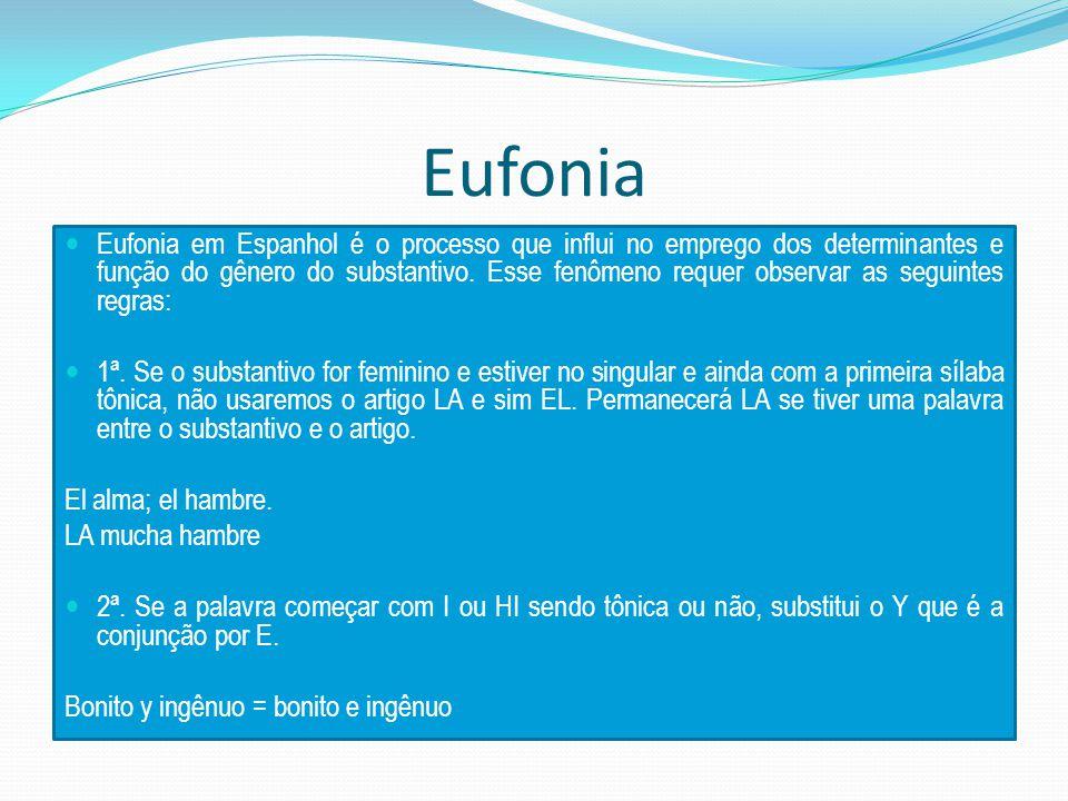 Eufonia Eufonia em Espanhol é o processo que influi no emprego dos determinantes e função do gênero do substantivo.