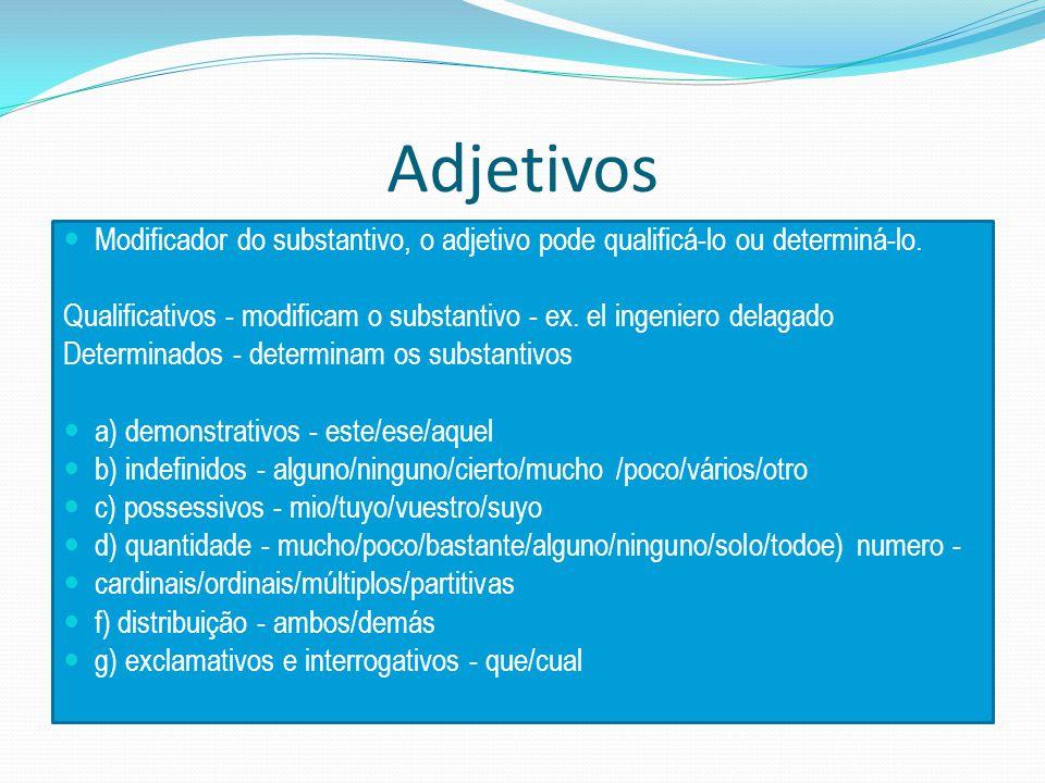 Adjetivos Modificador do substantivo, o adjetivo pode qualificá-lo ou determiná-lo.