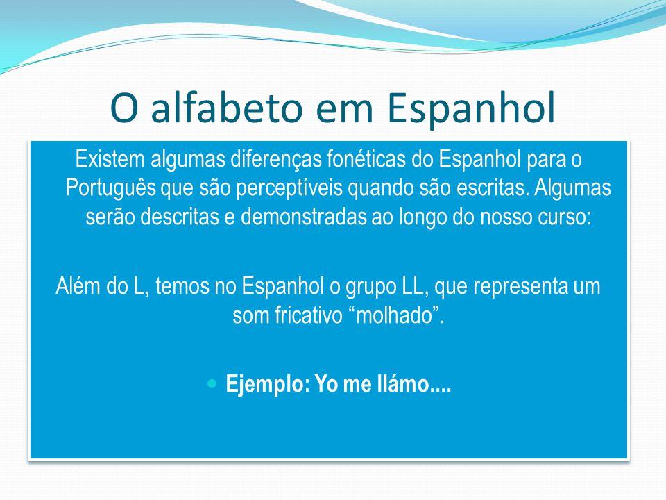 O alfabeto em Espanhol Existem algumas diferenças fonéticas do Espanhol para o Português que são perceptíveis quando são escritas.
