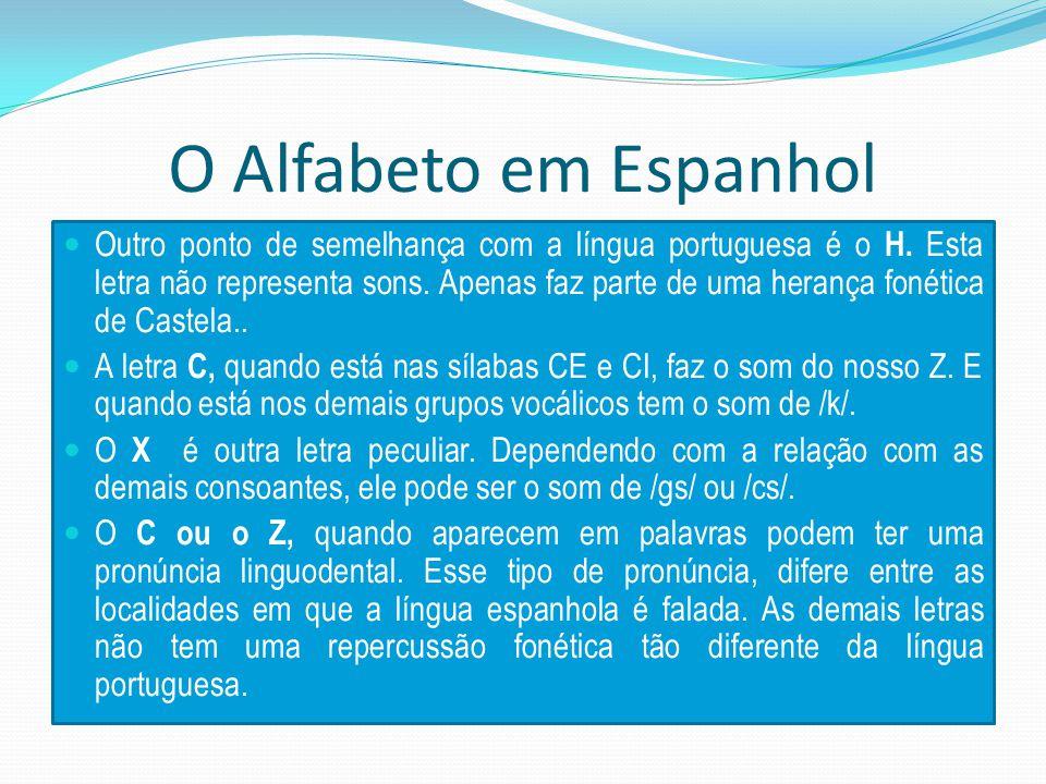 O Alfabeto em Espanhol Outro ponto de semelhança com a língua portuguesa é o H.