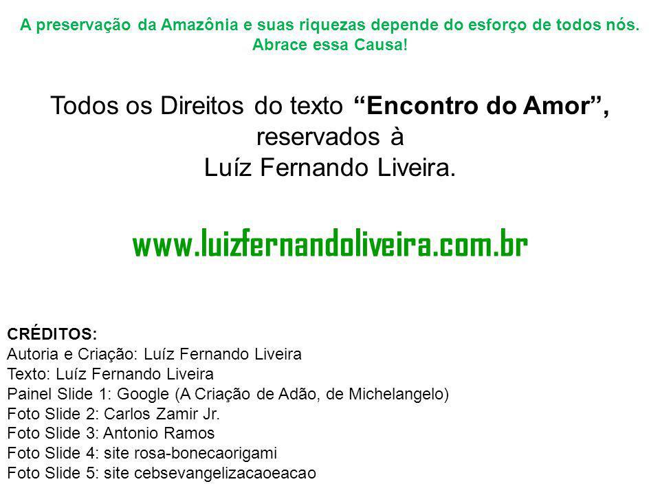"""A preservação da Amazônia e suas riquezas depende do esforço de todos nós. Abrace essa Causa! Todos os Direitos do texto """"Encontro do Amor"""", reservado"""