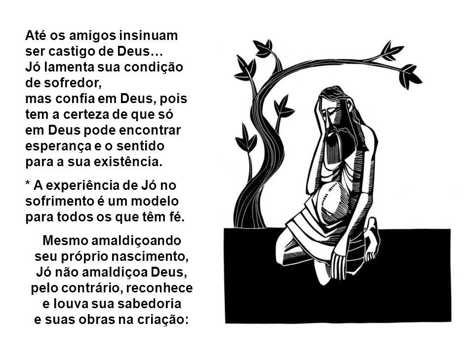 Até os amigos insinuam ser castigo de Deus… Jó lamenta sua condição de sofredor, mas confia em Deus, pois tem a certeza de que só em Deus pode encontrar esperança e o sentido para a sua existência.