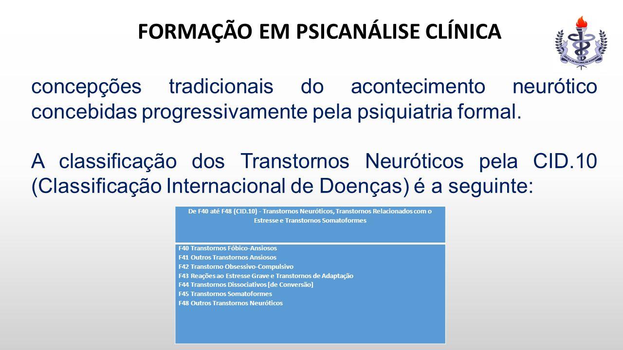 FORMAÇÃO EM PSICANÁLISE CLÍNICA concepções tradicionais do acontecimento neurótico concebidas progressivamente pela psiquiatria formal. A classificaçã