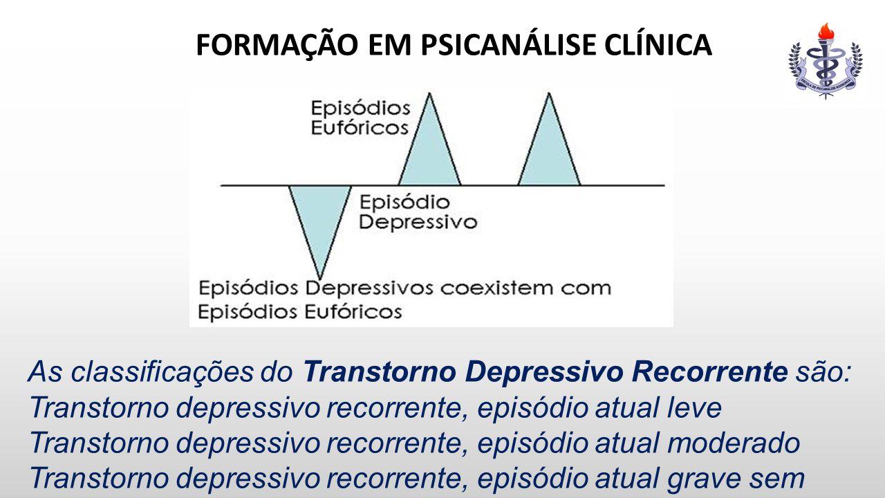 FORMAÇÃO EM PSICANÁLISE CLÍNICA As classificações do Transtorno Depressivo Recorrente são: Transtorno depressivo recorrente, episódio atual leve Trans