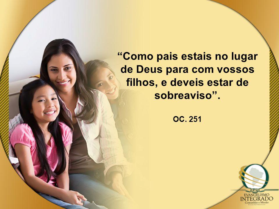 Como pais estais no lugar de Deus para com vossos filhos, e deveis estar de sobreaviso . OC. 251