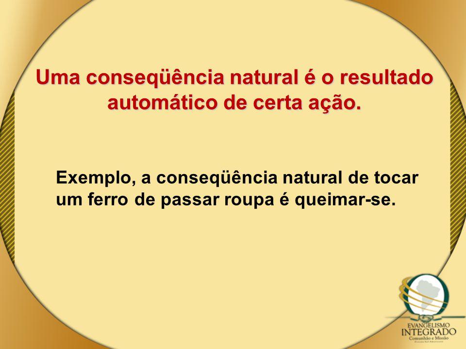 Uma conseqüência natural é o resultado automático de certa ação. Exemplo, a conseqüência natural de tocar um ferro de passar roupa é queimar-se.