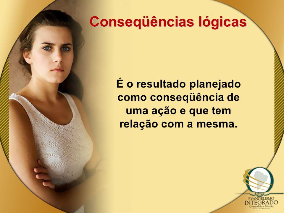 Conseqüências lógicas É o resultado planejado como conseqüência de uma ação e que tem relação com a mesma.
