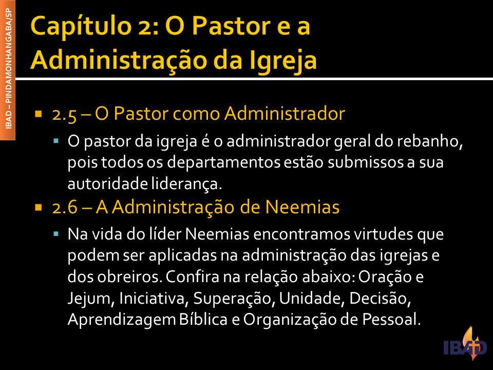 IBAD – PINDAMONHANGABA/SP  2.5 – O Pastor como Administrador  O pastor da igreja é o administrador geral do rebanho, pois todos os departamentos est