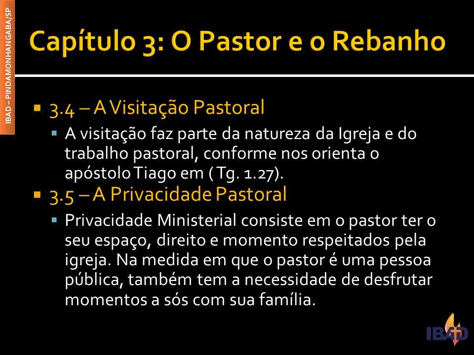 IBAD – PINDAMONHANGABA/SP  3.4 – A Visitação Pastoral  A visitação faz parte da natureza da Igreja e do trabalho pastoral, conforme nos orienta o ap