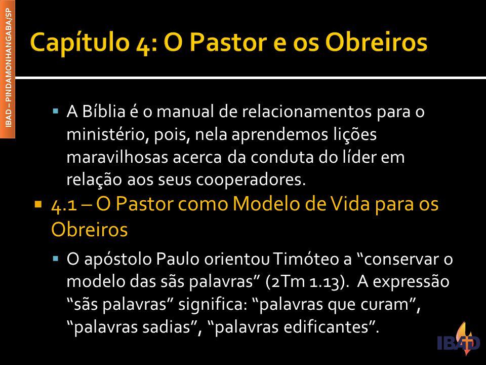 IBAD – PINDAMONHANGABA/SP  A Bíblia é o manual de relacionamentos para o ministério, pois, nela aprendemos lições maravilhosas acerca da conduta do l
