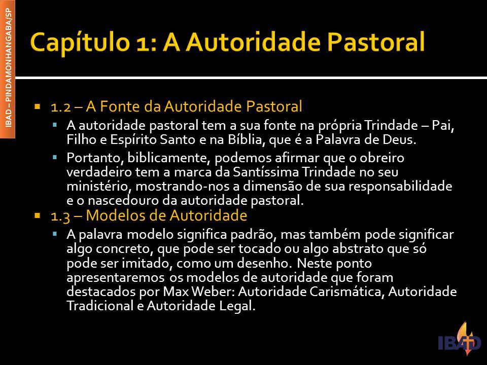 IBAD – PINDAMONHANGABA/SP  1.2 – A Fonte da Autoridade Pastoral  A autoridade pastoral tem a sua fonte na própria Trindade – Pai, Filho e Espírito S