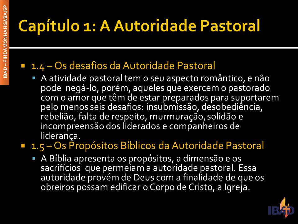 IBAD – PINDAMONHANGABA/SP  1.4 – Os desafios da Autoridade Pastoral  A atividade pastoral tem o seu aspecto romântico, e não pode negá-lo, porém, aq