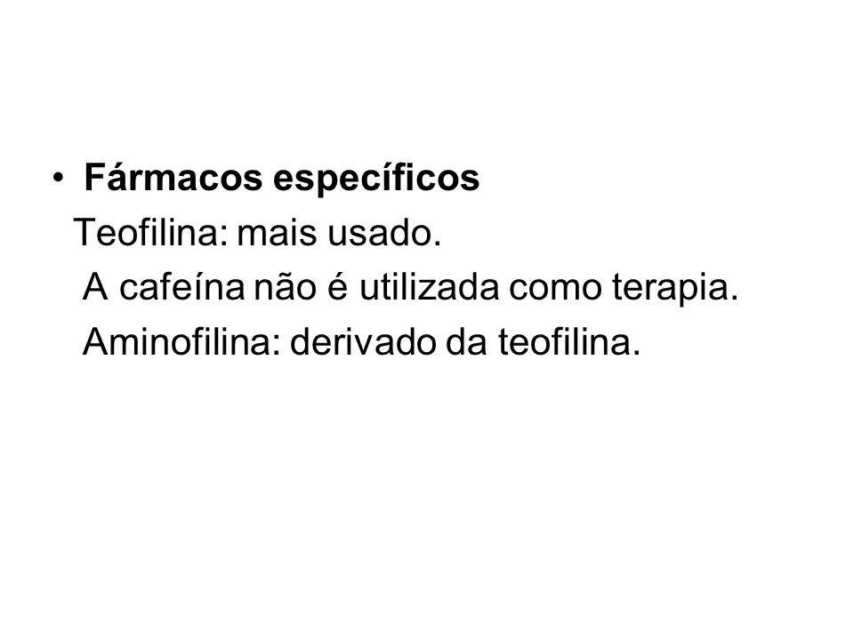 Fármacos específicos Teofilina: mais usado.A cafeína não é utilizada como terapia.