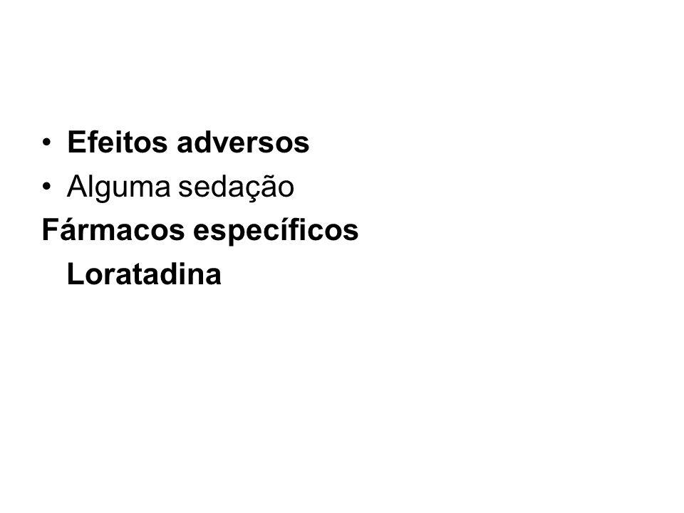 Efeitos adversos Alguma sedação Fármacos específicos Loratadina