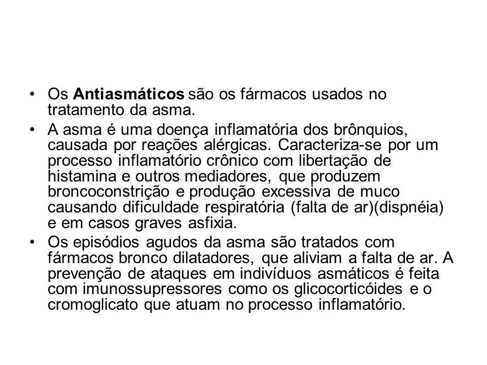 Os Antiasmáticos são os fármacos usados no tratamento da asma.