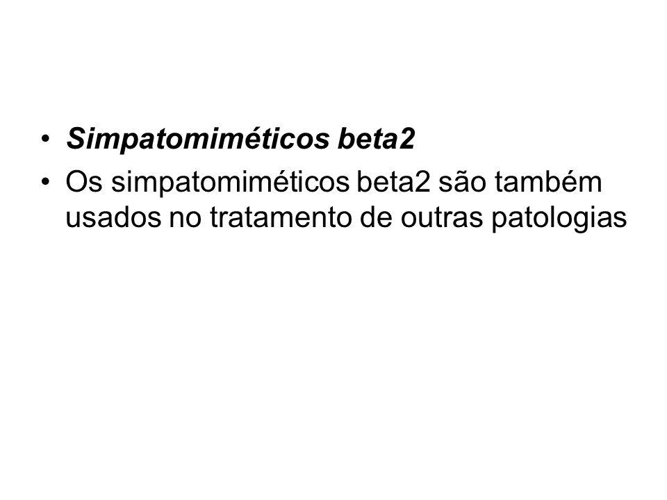 Simpatomiméticos beta2 Os simpatomiméticos beta2 são também usados no tratamento de outras patologias