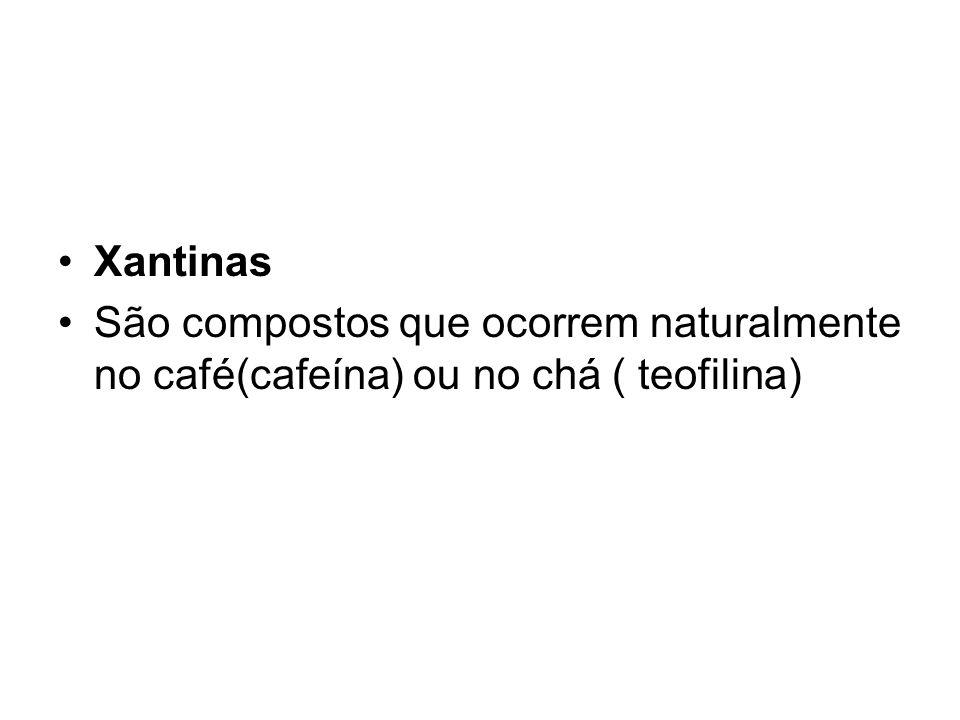 Xantinas São compostos que ocorrem naturalmente no café(cafeína) ou no chá ( teofilina)