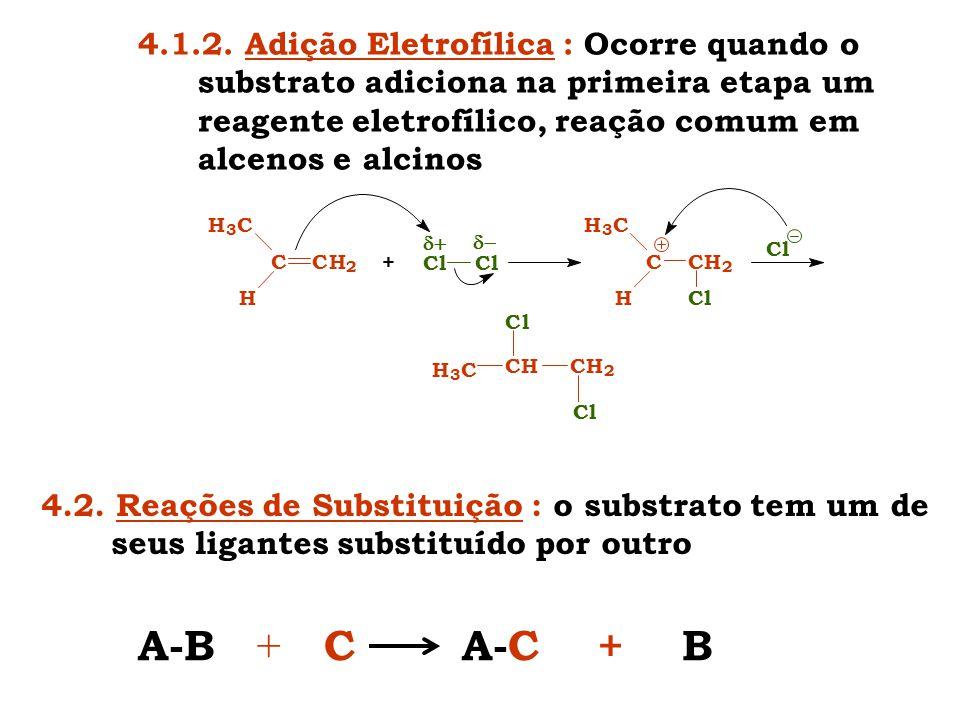 4.1.2. Adição Eletrofílica : Ocorre quando o substrato adiciona na primeira etapa um reagente eletrofílico, reação comum em alcenos e alcinos +  