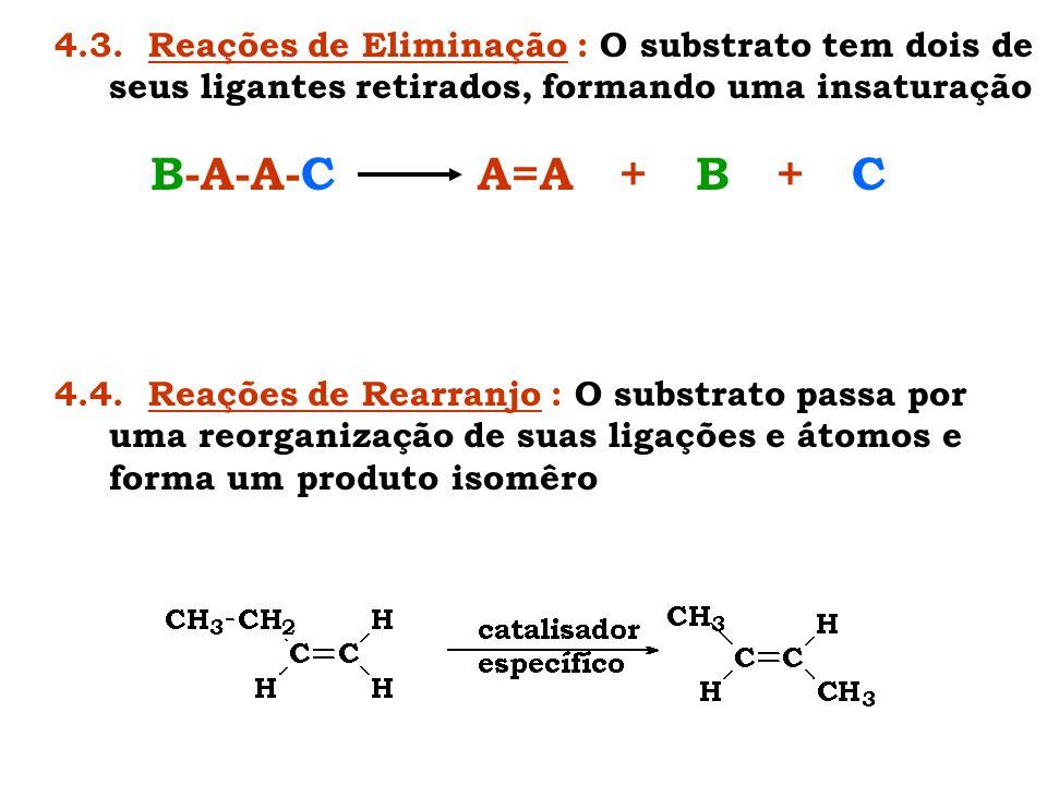 4.3. Reações de Eliminação : O substrato tem dois de seus ligantes retirados, formando uma insaturação B-A-A-C A=A + B + C 4.4. Reações de Rearranjo :