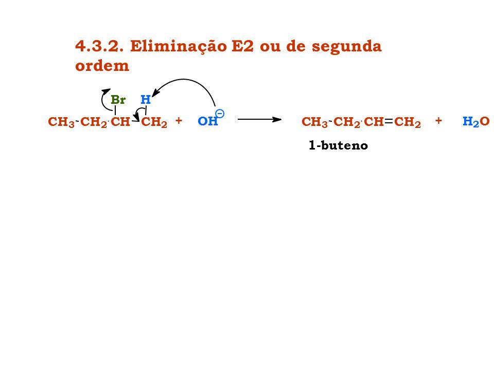 4.3.2. Eliminação E2 ou de segunda ordem 1-buteno H 2 O+ CH 3 CH 2 CHCH 2 CH 3 CH 2 CH Br CH 2 H +OH