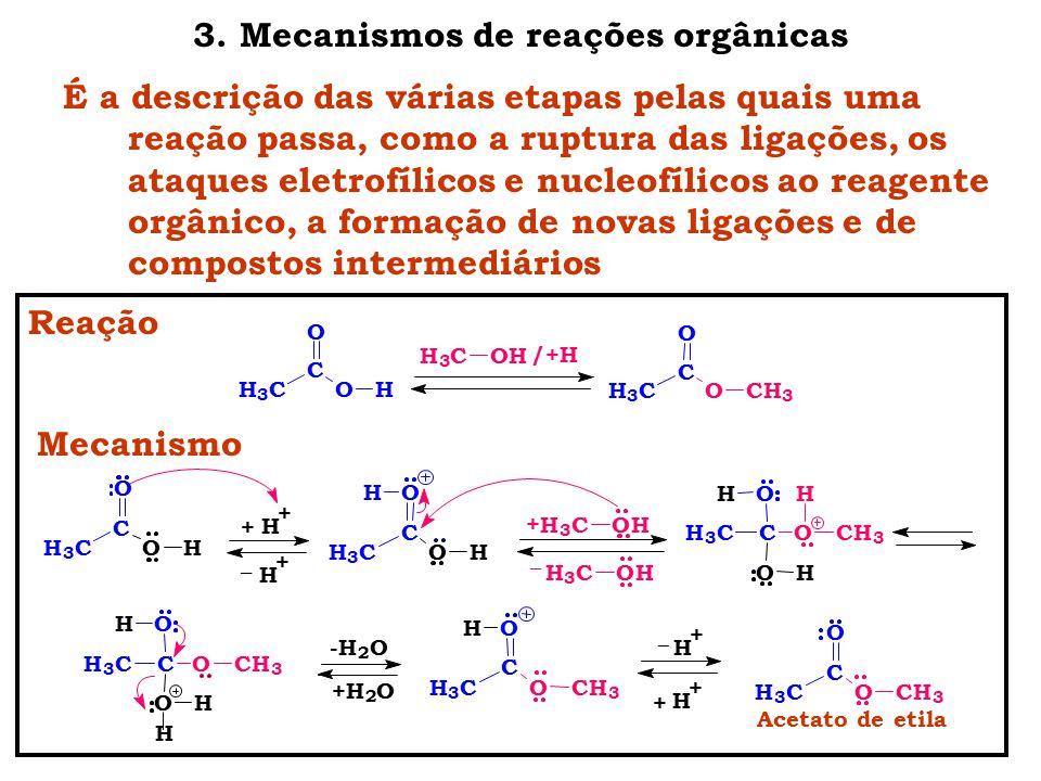 3. Mecanismos de reações orgânicas É a descrição das várias etapas pelas quais uma reação passa, como a ruptura das ligações, os ataques eletrofílicos
