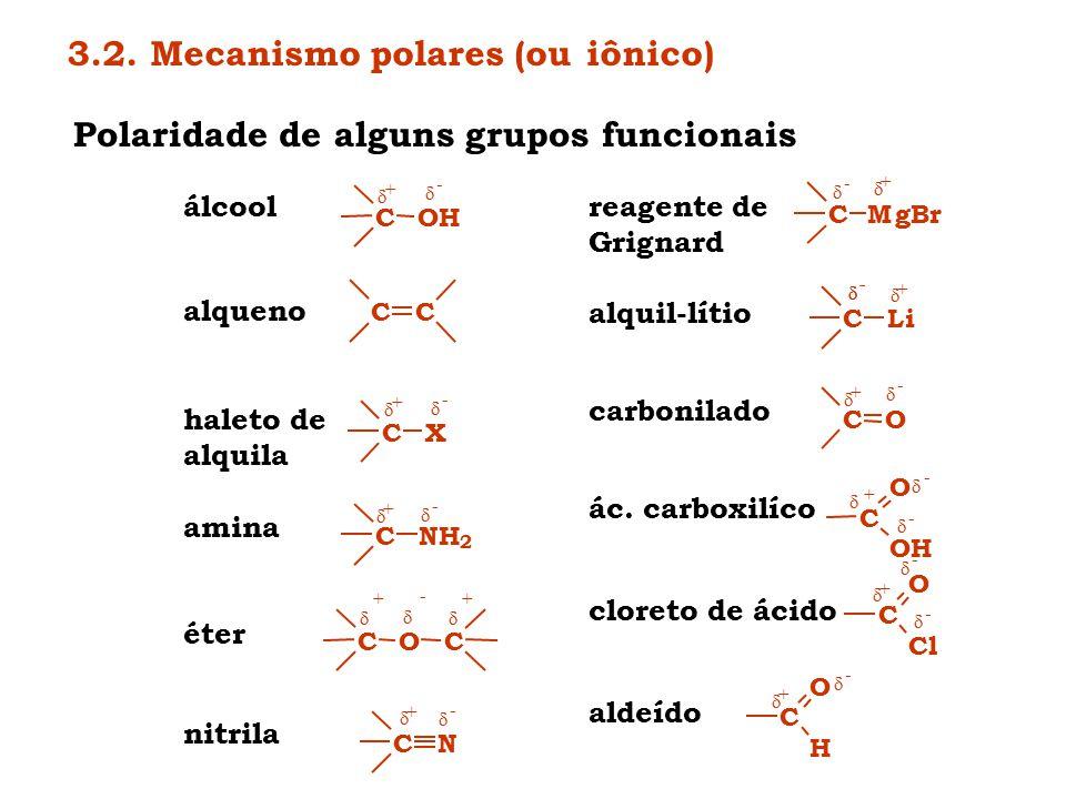 Polaridade de alguns grupos funcionais COH  -  + álcool CC alqueno CX  -  + haleto de alquila CNH 2  -  + amina COC   - ++ éter CN  -  + ni