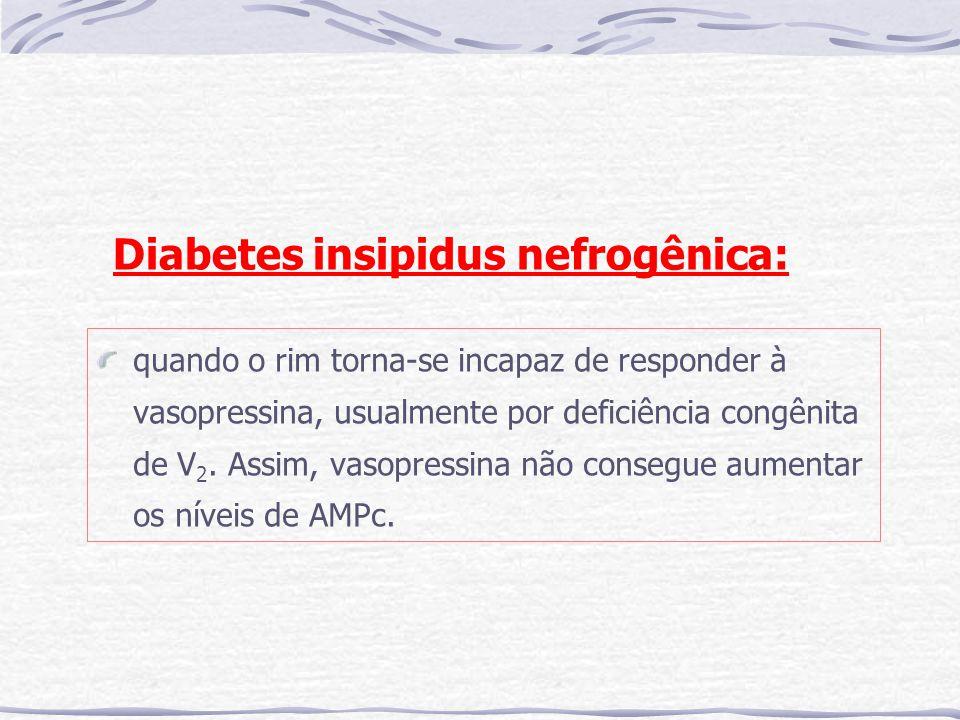 Diabetes insipidus nefrogênica: quando o rim torna-se incapaz de responder à vasopressina, usualmente por deficiência congênita de V 2. Assim, vasopre