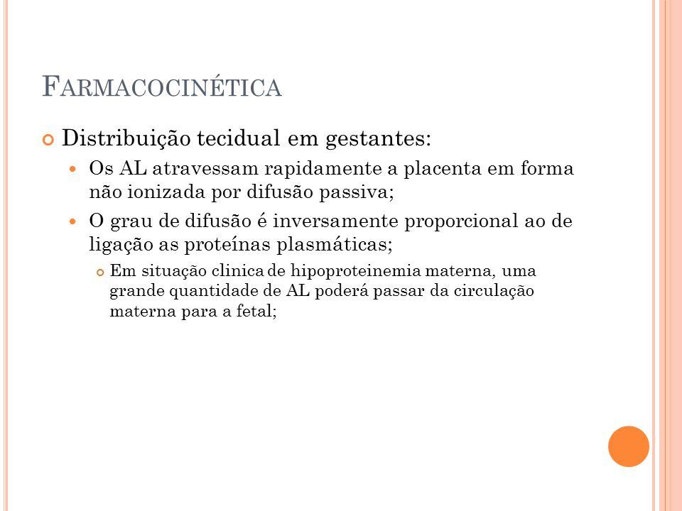 F ARMACOCINÉTICA Distribuição tecidual em gestantes: Os AL atravessam rapidamente a placenta em forma não ionizada por difusão passiva; O grau de difu