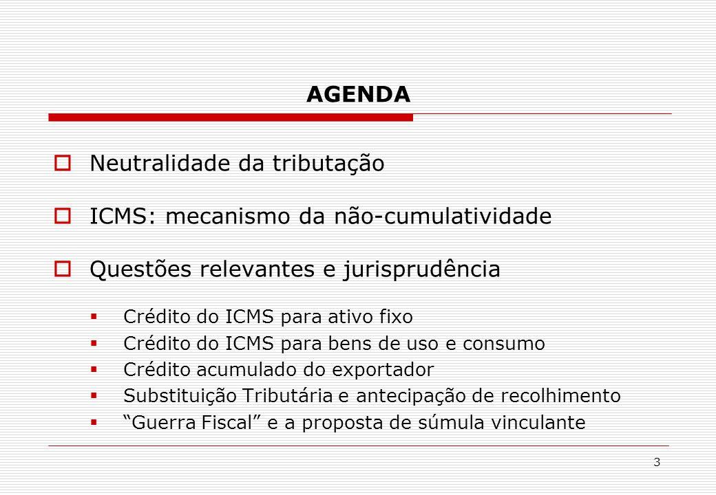 AGENDA  Neutralidade da tributação  ICMS: mecanismo da não-cumulatividade  Questões relevantes e jurisprudência  Crédito do ICMS para ativo fixo 
