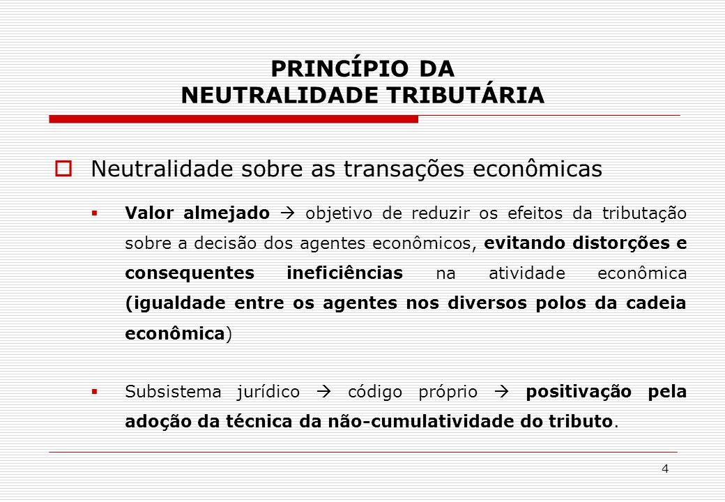 PRINCÍPIO DA NEUTRALIDADE TRIBUTÁRIA  Neutralidade sobre as transações econômicas  Valor almejado  objetivo de reduzir os efeitos da tributação sob