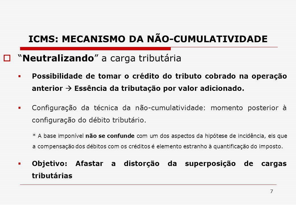 """ICMS: MECANISMO DA NÃO-CUMULATIVIDADE  """"Neutralizando"""" a carga tributária  Possibilidade de tomar o crédito do tributo cobrado na operação anterior"""