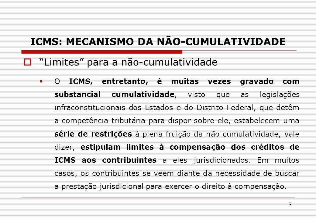 """ICMS: MECANISMO DA NÃO-CUMULATIVIDADE  """"Limites"""" para a não-cumulatividade  O ICMS, entretanto, é muitas vezes gravado com substancial cumulatividad"""