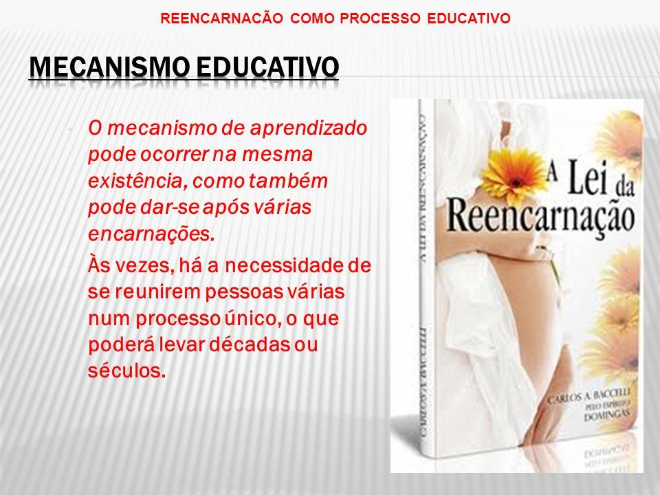 REENCARNACÃO COMO PROCESSO EDUCATIVO 12 O mecanismo de aprendizado pode ocorrer na mesma existência, como também pode dar-se após várias encarnações.