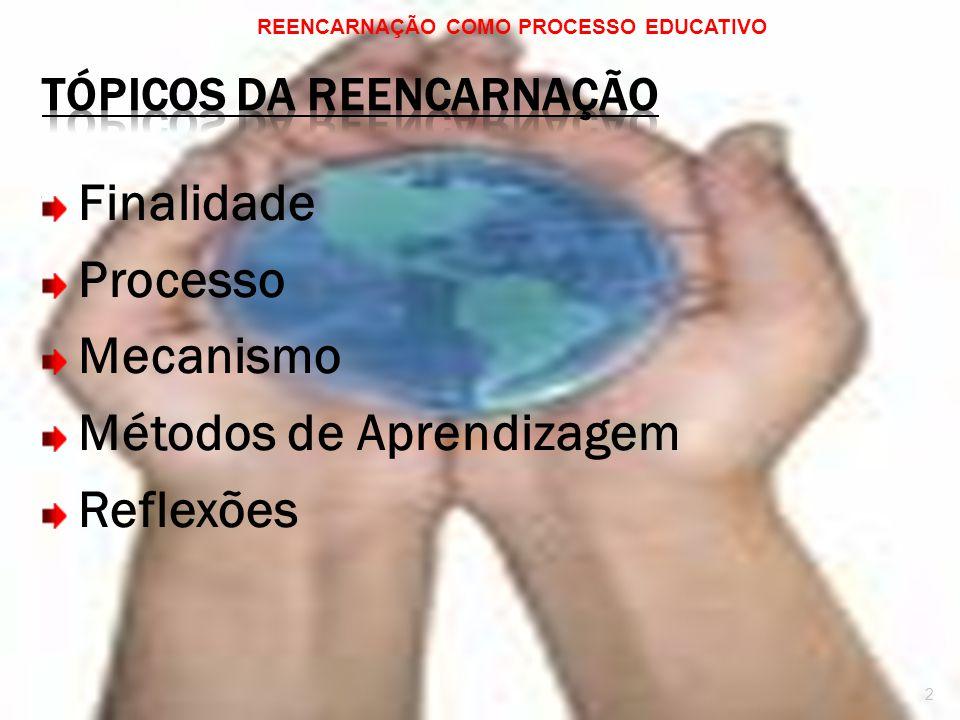 Finalidade Processo Mecanismo Métodos de Aprendizagem Reflexões REENCARNAÇÃO COMO PROCESSO EDUCATIVO 2