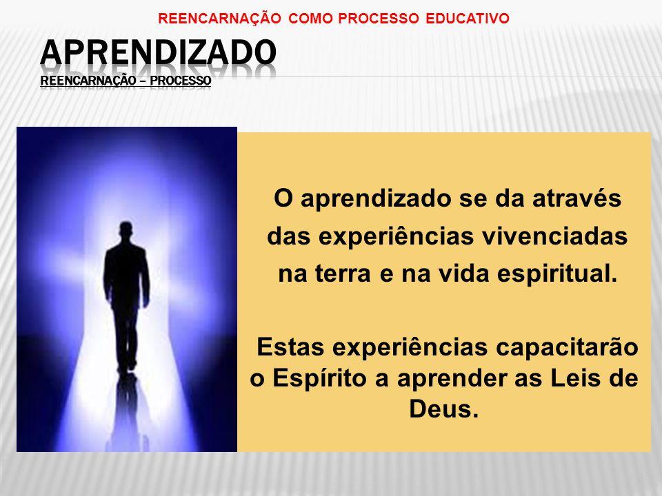 O aprendizado se da através das experiências vivenciadas na terra e na vida espiritual.