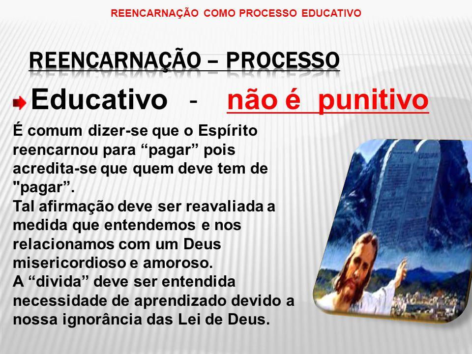 Educativo - não é punitivo 9 REENCARNAÇÃO COMO PROCESSO EDUCATIVO É comum dizer-se que o Espírito reencarnou para pagar pois acredita-se que quem deve tem de pagar .