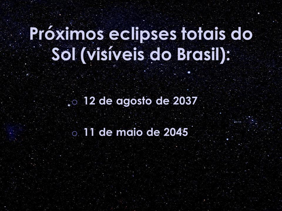 Próximos eclipses totais do Sol (visíveis do Brasil): o 12 de agosto de 2037 o 11 de maio de 2045