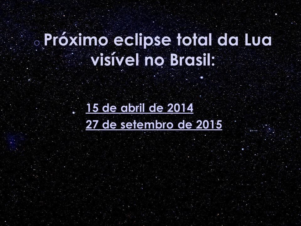 o Próximo eclipse total da Lua visível no Brasil: 15 de abril de 2014 27 de setembro de 2015