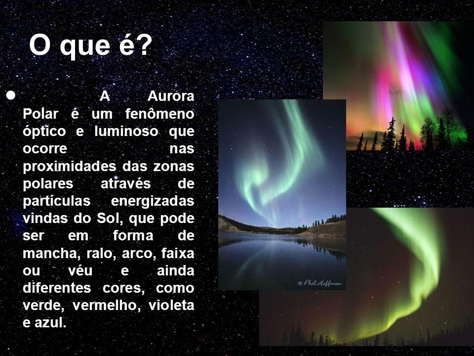 O que é? A Aurora Polar é um fenômeno óptico e luminoso que ocorre nas proximidades das zonas polares através de partículas energizadas vindas do Sol,